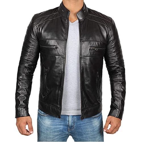 Austin Mens Black Cafe Racer Premium Leather Jacket