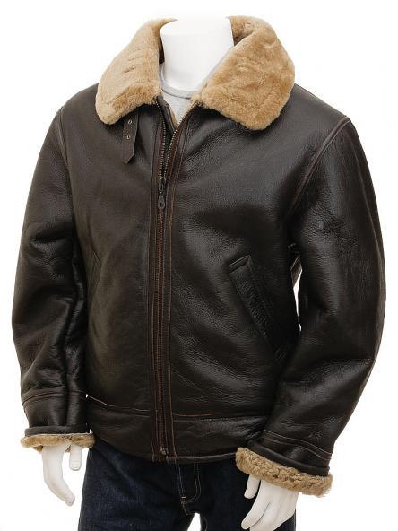 Modesto Mens Leather Shearling Aviator Jacket