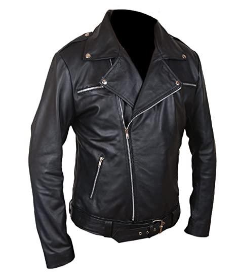 Negan Police Style Biker Leather Jacket