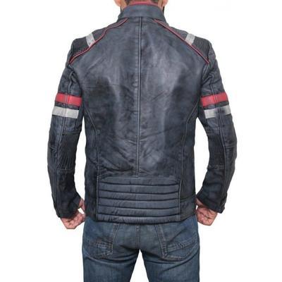 Retro 2 Striped Grey Leather Jacket
