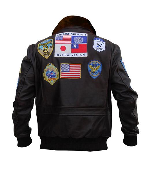 Brown Bomber Style Top Gun Jacket
