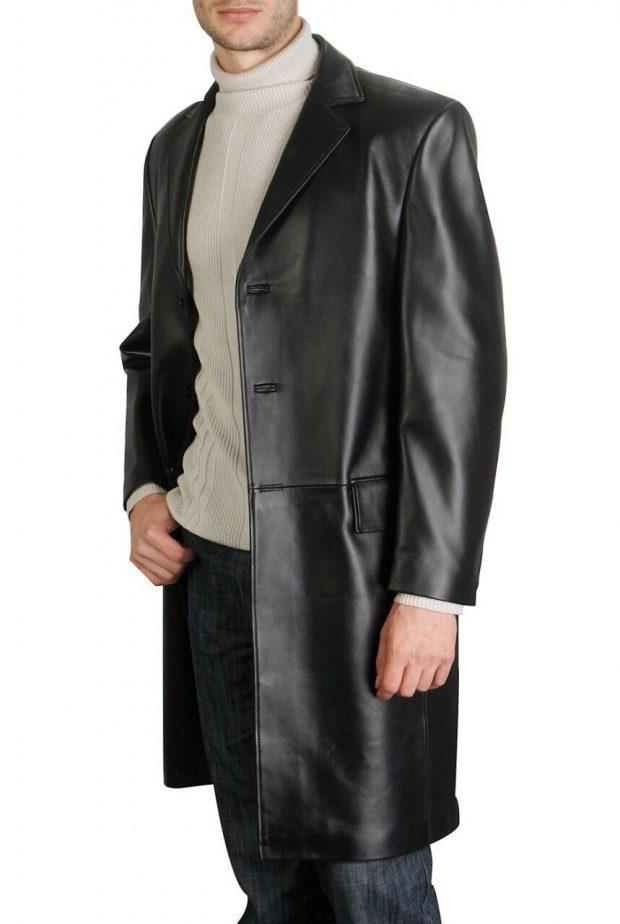 Cowhide Leather Walking Long Coat
