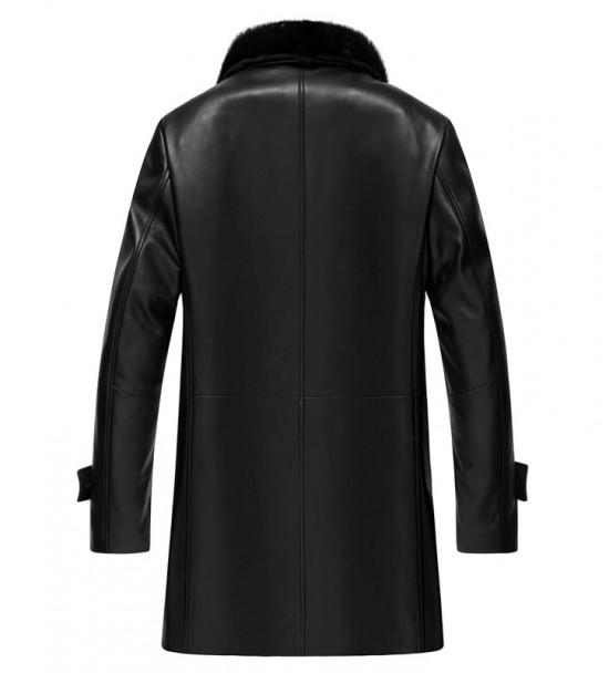 Delta Mens Leather Shearling Coat