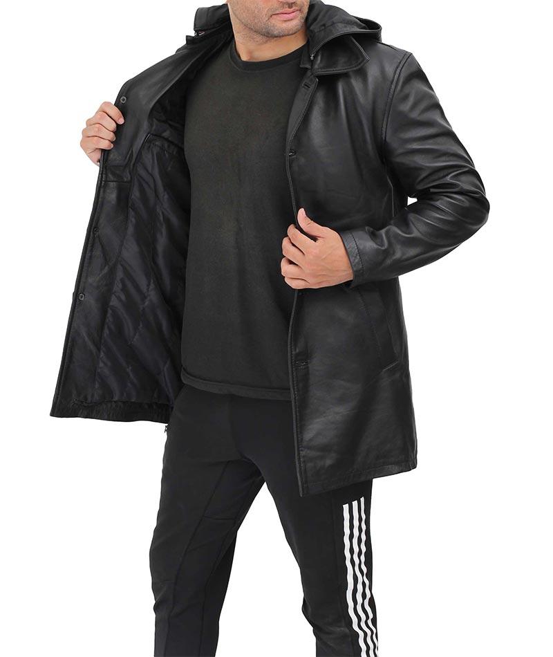 Devine Mens Black Leather Hooded Coat