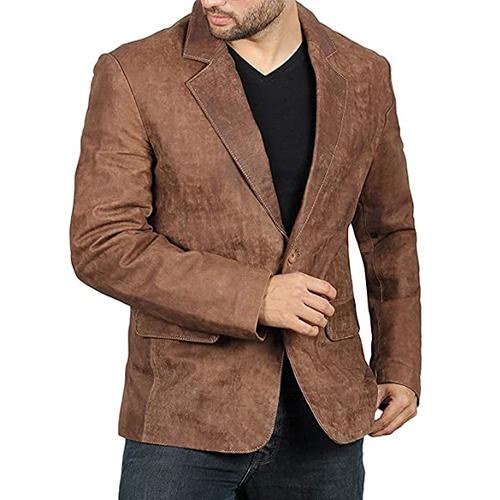 Edwin Suede Mens Brown Leather Blazer