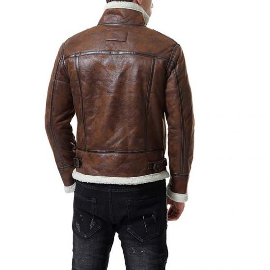 Reno Brown Shearling Leather Jacket Mens